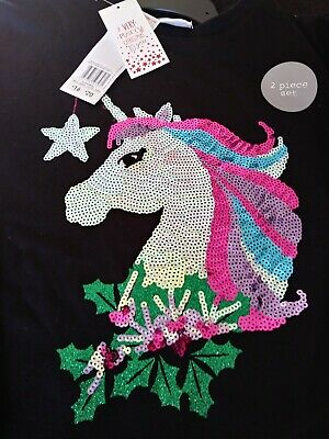 NEW STUNNING SEQUIN UNICORN CHRISTMAS 2 PC OUTFIT AGE 10-11 YRS x