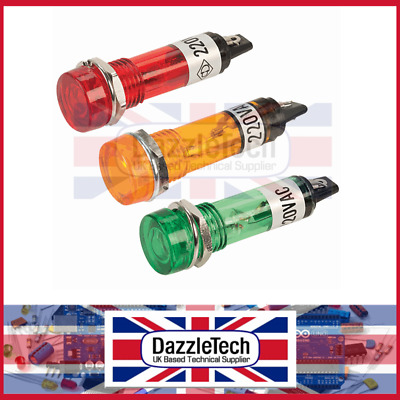 Neon Indicators Panel Mounting 12mm 220V AC Red Green Amber