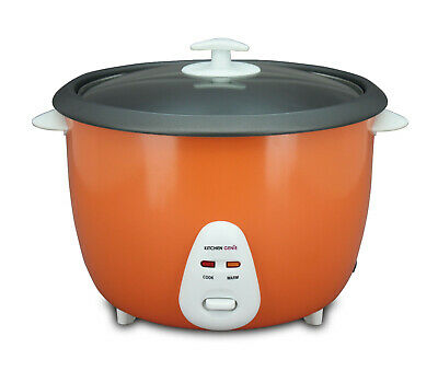 Kitchen Genie Deluxe Rice Cooker Steamer Glass Lid 16 Cup 2.8 Litre 1000W Orange
