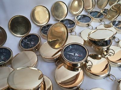 Lot Of 50 Pcs Brass Vintage Style Lid Compass 35 mm Marine Collectible