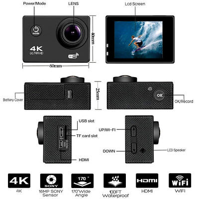 4K 16MP WiFi 2''Screen Ultra HD 1080P Sport Cam Action Camera DV Video Recorder