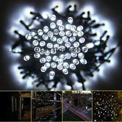 50-500 LED Solar Power Fairy Lights String Garden Outdoor Party Xmas Cool White