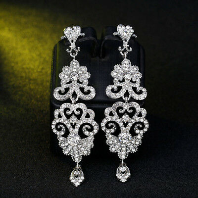 Unique Jewelry Crystal Wedding Earring for Women Rhinestone Bridal Party Prom