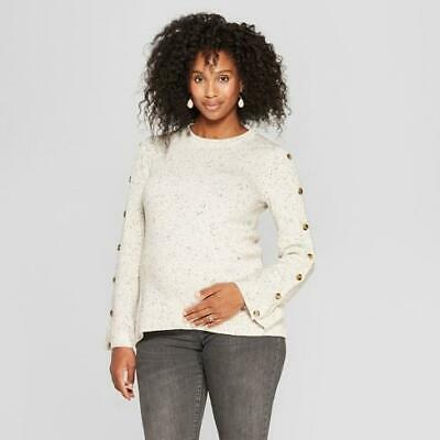 TARGET Isabel Maternity Button Sleeve Sweater Speckled Beige Oatmeal NEW!