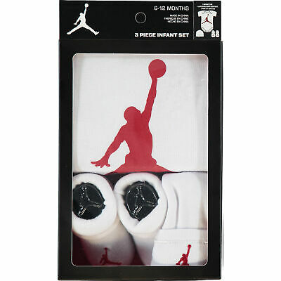 Nike AIR JORDAN Jumpman23 Baby 3-piece Outfit Gift Set White/Red, 6-12 months