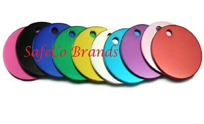 SafeCo Brands Round 1 1/4 Colored Aluminum Pet Tags Key Tags Metal Tags