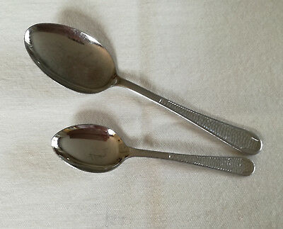 Vintage Chromium Plate Dessert Spoon & Teaspoon Patterned Handle VGC