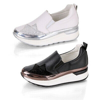 bb66b15f580 Womens Slip On Casual Fitness Gym Diamante Running Trainers Sports Shoes  Size