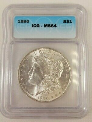 1890 US Morgan Silver $1 Dollar Coin ICG MS64