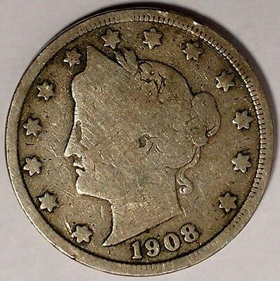 """1908-P  5C Liberty Head Nickel, 17rr1709  """"Only 50 Cents for Shipping"""""""