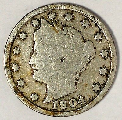 """1904-P  5C Liberty Head Nickel, 17hw1712  """"Only 50 Cents for Shipping""""*1"""