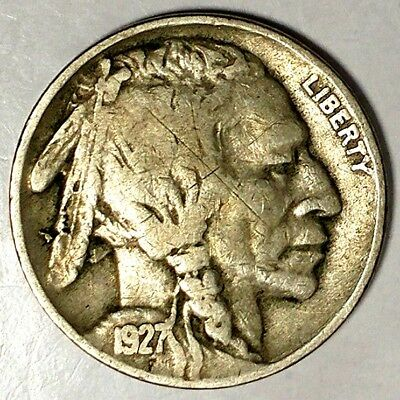 "1927-P 5C Buffalo Nickel, 17rr0209 ""Only 50 Cents for Shipping""*1"