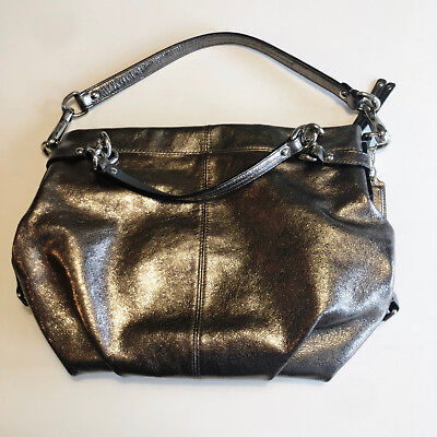 a99f2e5f2815e Coach Pewter Metallic Leather BROOKE Shoulder Bag Purse  F17165   Hang Tag