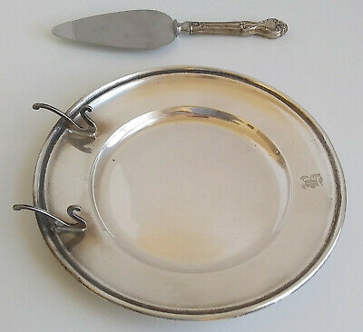 Vintage Gorham Sterling Silver Cheese/Butter Dish Plate W/Sterling Serving Knife
