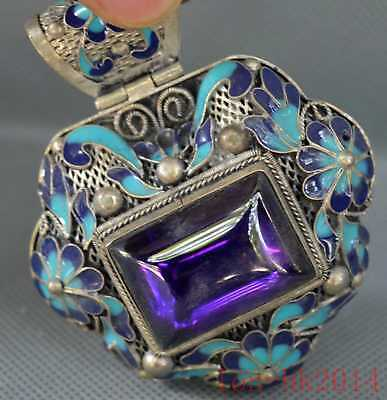 China Collectable Miao Silver Cloisonne Carve Flower Inlay Crystal Tibet Pendant