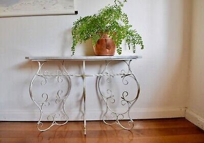 Vintage French Style Wrought Iron & Marble Console Table Shabby Chic