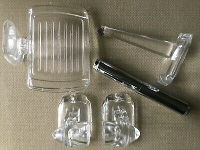 CCH Antique Glass Bath Accssories: Soap Dish, Clothes Hook, T.P. Roll/Towel Bar