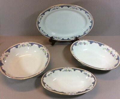 Vintage Royal Bayreuth Bavaria Porcelain 4 Piece Serving Set Corona Pattern