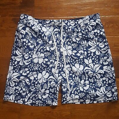 8964763c18 Merona Men's XL At Knee Classic Blue Board Shorts Swim Trunks Water Floral