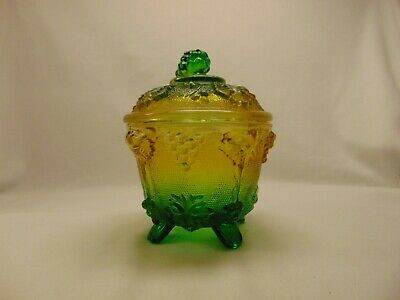Jeanette Glass Carnival Glass Green To Gold Footed Candy Dish