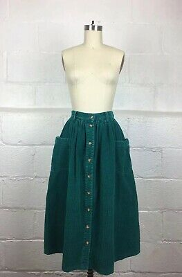 d76481468b Vintage 1990's Eddie Bauer button down midi teal green corduroy skirt