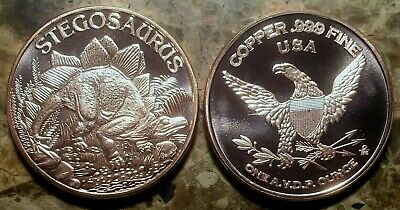 Dinosaurs -  Stegosaurus  1oz. Pure Copper Bullion Round!!