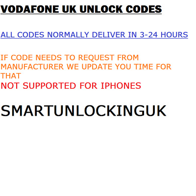 VODAFONE UK UNBARRING SERVICE all IPHONE SAMSUNG HUAWEI all mobiles supported