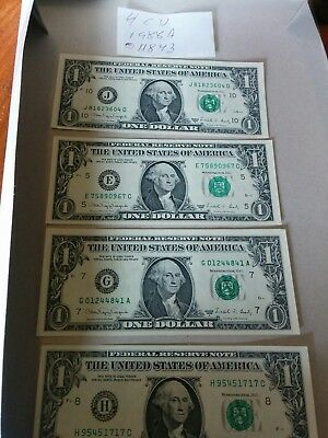 1988A 4 different CU $1.00 notes  Federal Reserve note 011843
