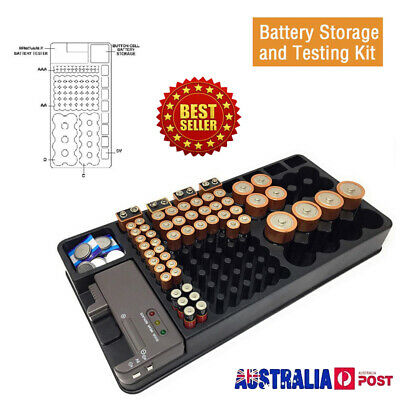 Battery Storage Organizer Holder with Tester - Battery Caddy Rack Case Box 2019