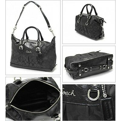 8001d3d5d8f6 Authentic Coach Ashley Signature Satchel Convertible Bag Purse F15443 Black