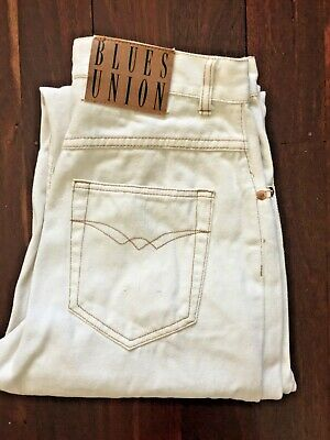 """Women's Vintage 80s 90s Cream As New """"Blues Union"""" High Waisted Mom Jean M/L"""
