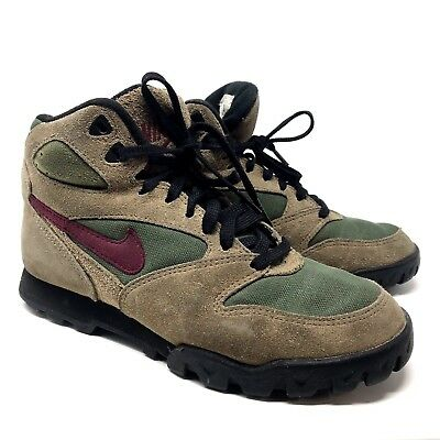 wholesale dealer 4a8cb 0e3b9 Vtg 90s NIKE Caldera HIKING BOOTS Size 7 Trail Outdoors LEATHER SUEDE Tan  Maroon