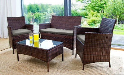 Grey Replacement 3pc Cushions Set to fit Rattan Garden Furniture Chairs Sofa