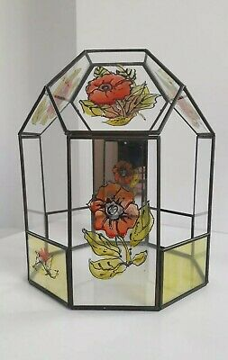 Vintage Stained Glass And Lead Frame Terrarium with Mirror