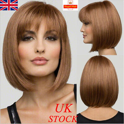 Ladies Short Bob Wigs Straight Sleek Wig Human Hair Fancy Dress Cosplay Wigs