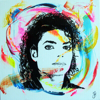 michael jackson signed PyB tableau pop street art graffiti painting canva french