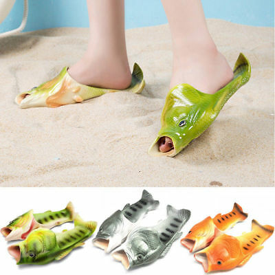 Fish Flops Slippers Funny Beach Shoes Bling Flip Thongs Sandals Pluggers