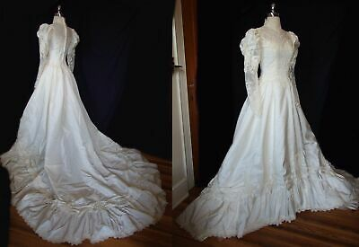 Vintage 1980s Victorian Cathedral Train Wedding Gown Taffeta Lace Dress Custom