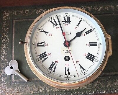 Vintage Smiths Astral Ships Bulkhead Brass Clock & Key