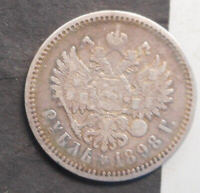 Russia 1898 Nicholas II Rouble Silver Coin Nice