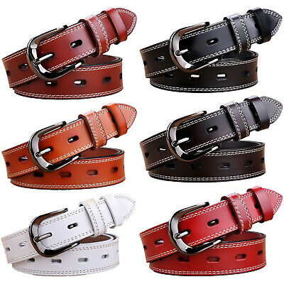 Women's Metal Buckle Handcrafted Double Stitched Genuine Leather Jean Belt