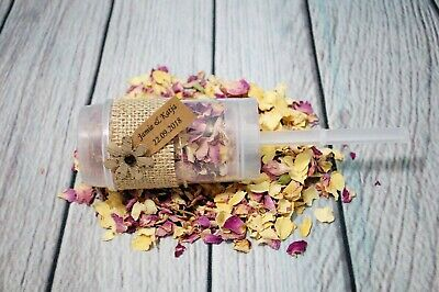 Biodegradable Rose Confetti Hessian Poppers Personalised Rustic Classic Wedding