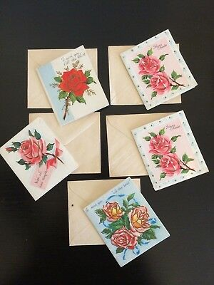 5 Vintage greeting cards unused tiny gift cards with envelopes