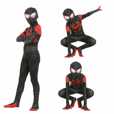 Spider Man Kids Miles Morales Cosplay Into the Spider Verse Costume Zentai Suit