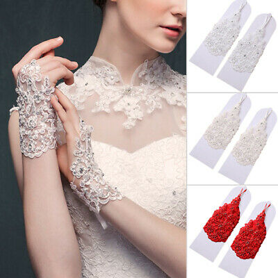 Women Lace Beaded Fingerless Bridal Wedding/ sunscreen lace/lace hollowed glove