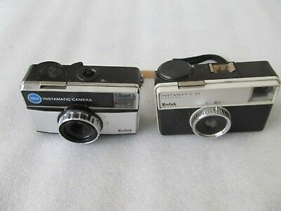 2 Vintage 1970's Kodak Instamatics 155X & 33, -126 cartridge film cameras