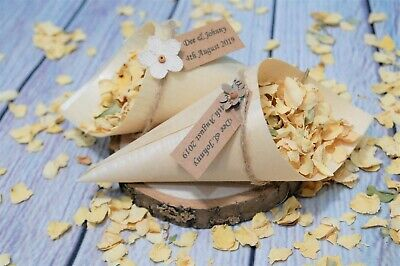 Open Confetti Bamboo Cones Personalised Tag flower Biodegradable Rose Petals