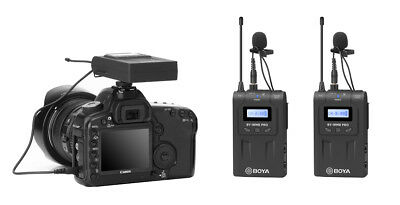 Wireless Lapel Microphone System 1RX 2TX for Camera iPhone Home Studio Recording