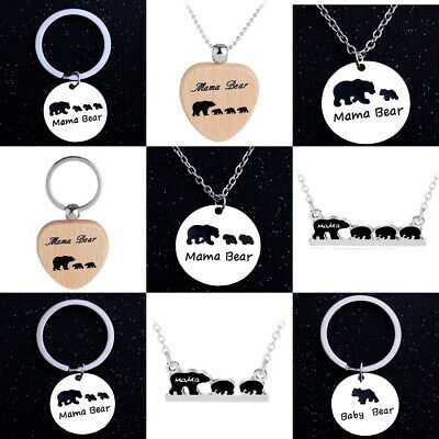Mama Bear Baby Gift Birthday Present Necklace Mom Mommy Daddy Dad Family