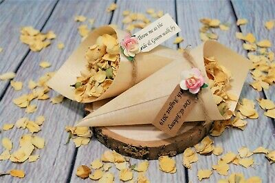 Open Confetti Bamboo Cones Personalised Tag Rose Biodegradable Rose Petals
